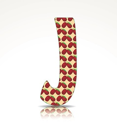 The letter J of the alphabet made of Jujube vector
