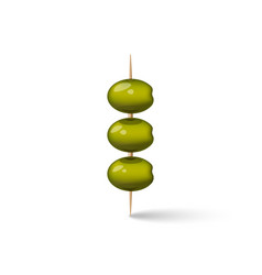 Three green olives on a wooden toothpicks snack vector