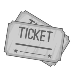 Ticket icon gray monochrome style vector