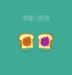 Toasted bread with peanut butter and jam friends vector