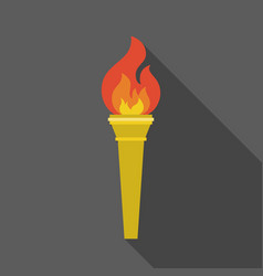torch icon with long shadow vector image