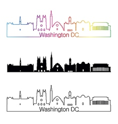 Washington DC V2 skyline linear style with rainbow vector