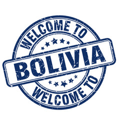 welcome to bolivia blue round vintage stamp vector image