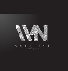 Wn w n letter logo with zebra lines texture vector