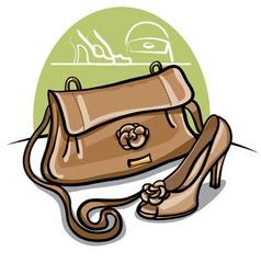 Women beige shoe and handbag vector