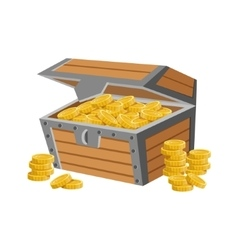 Wooden Chest Filled With Golden Coins Hidden vector image
