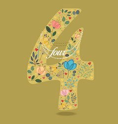 Yellow number four with floral decor and necklace vector