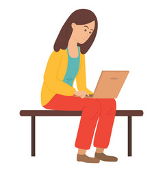 young girl sits on bench and uses laptop surfing vector image