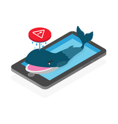 blue whale dangerous suicidal game on social vector image vector image