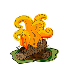 fire with firewood vector image vector image