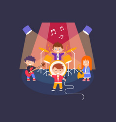 kids playing different musical instruments and vector image