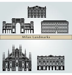 Milan landmarks and monuments vector image vector image