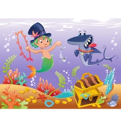 Triton with shark with background vector image vector image