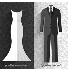 wedding beautiful suits clothing ornamental style vector image vector image