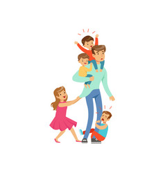 cartoon exhausted father with his four little vector image