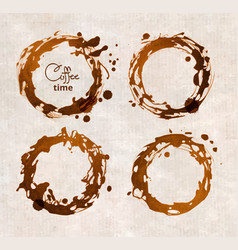 coffee cup stains on white background vector image