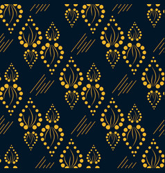 geometric yellow pattern with ornament leaves vector image