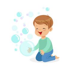 happy boy kneeling playing bubbles vector image vector image