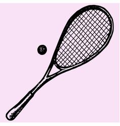 squash racket and ball vector image vector image