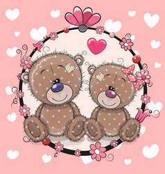 Greeting card with two cute cartoon bears vector
