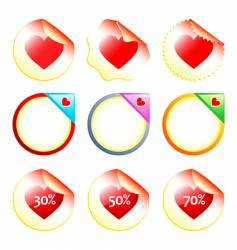 heart stickers or labels vector image vector image