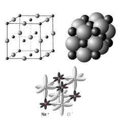 Ionic crystals The structure of sodium chloride vector image