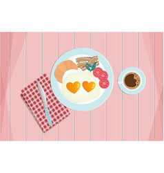 breakfast fried heart shape eggs served with vector image vector image