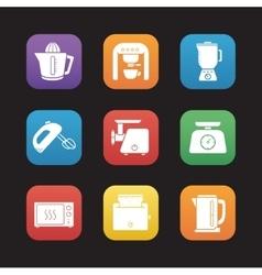 Kitchen electronics flat design icons set vector image