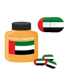 National Patriotic medicine UAE Pill with the flag vector image
