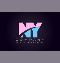 ny alphabet letter join joined letter logo design vector image vector image