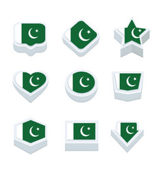 pakistan flags icons and button set nine styles vector image