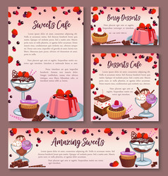 pastry design templates set of dessert cakes vector image vector image
