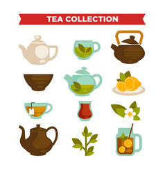 tea collection of cups teapot and teabags vector image vector image