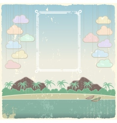 Vintage seaside view poster template vector image