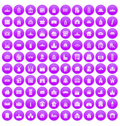100 building icons set purple vector
