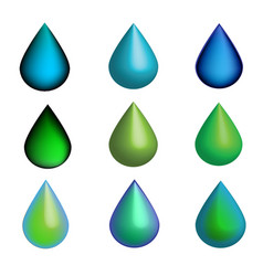3d green and blue water drops set vector
