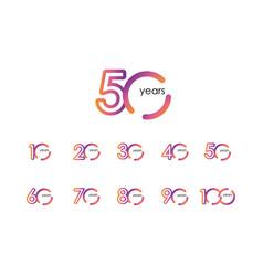 50 years anniversary color full elegant set vector