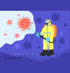 A man in overalls disinfects fight against covid vector