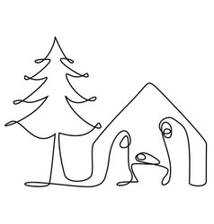 abstract nativity scene with holy family vector image