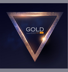 Abstract shiningtriangle gold banner with light vector