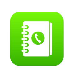 address book icon digital green vector image