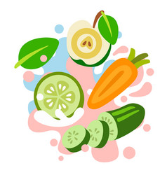 apple carrot cucumber on abstract colored vector image