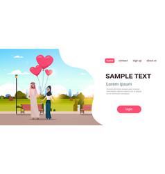 Arab man giving woman pink heart shape air vector