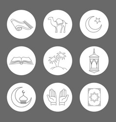 Arabic linear icons set vector