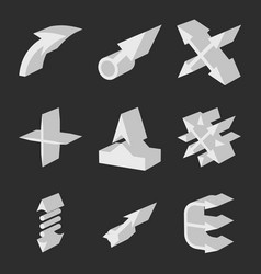 arrows isometric direction signs design elements vector image