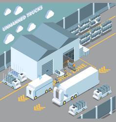 autonomous cars isometric composition vector image