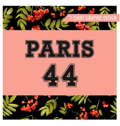 autumn t-shirt floral paris graphic fall travel vector image