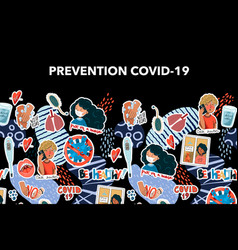 banner with coronavirus prevention reminder vector image