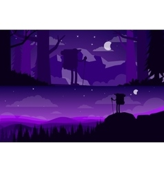 Banners about hiking silhouettes tourists vector