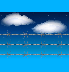barbed wire on starry sky background with clouds vector image